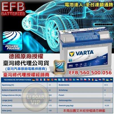 ✚中和電池✚舊換新優惠價 德國華達 原廠電瓶 VARTA D53 EFB 電池 福斯 GOLF VENTO PASSAT