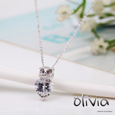 Olivia Fashion 鎖骨項鍊 可愛貓頭鷹施華洛世奇水鑽方晶鋯石厚鍍14K真金鎖骨項鍊【AB00497】
