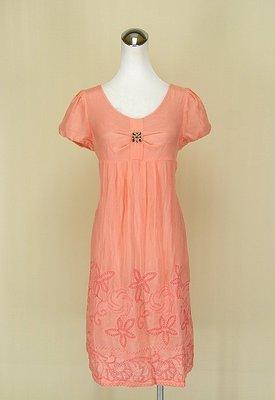 ◄貞新二手衣►Shy ya 詩雅 粉橘圓領短袖緞面洋裝M(9號)(77911)