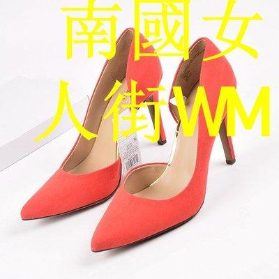南國女人街WM出口美國大碼高跟鞋夜場側空婚鞋紅色絨面高跟新娘鞋尖頭細跟性感