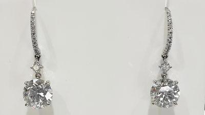 83487 大千典精品 秦老闆 流當品 天然鑽石耳環 D VS1 2克拉 單顆美鑽 垂吊 白K金 玫瑰切 GIA 圓鑽