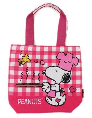 【卡漫迷】 史努比 手提袋 粉格紋 糊塗塔克 ㊣版 史奴比 Snoopy 外出袋 餐袋 便當袋 手提包 外出包 魔鬼氈式