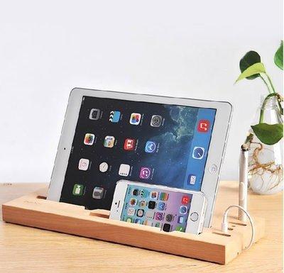 bancl原木多功能平板底座 桌面安卓iPhone 8 X 手機iPad Pro立架 充電站附觸控筆 禮物 特價出清