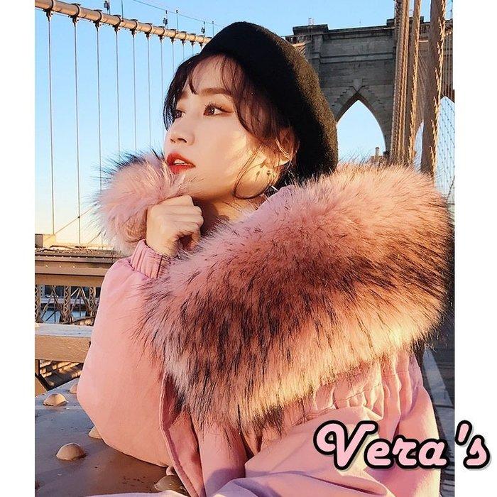 【V1801005】(預購)韓版冬季寬鬆BF工裝大毛領棉衣棉服外套