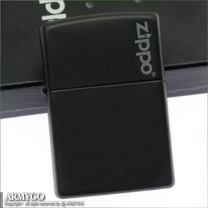 【ARMYGO】ZIPPO原廠打火機-黑色拷漆 NO.218ZL