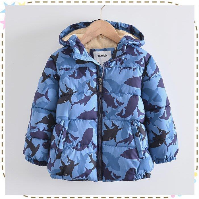 現貨 歐單海洋系大衣外套/防風加絨鋪棉外套/鋪棉連帽風衣外套*90cm~150cm☆貝克比比屋☆
