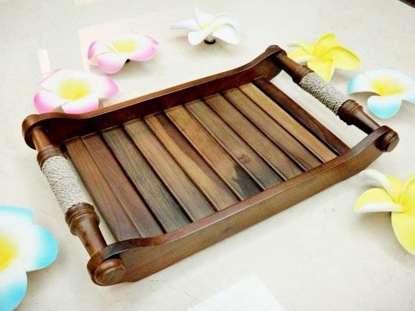 Y【永晴峇里島】巴里島風繫繩原木中托盤,居家,民宿,飯店都好用-托盤9@