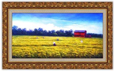 藝術之都~手繪創作油畫~豐收的季節 61*120CM~完成作品 含內框可直接懸掛(實品拍攝)