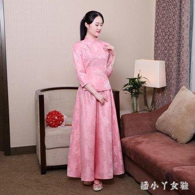 YEAHSHOP 花汝蕓新款中式古裝伴娘禮服粉色Y185