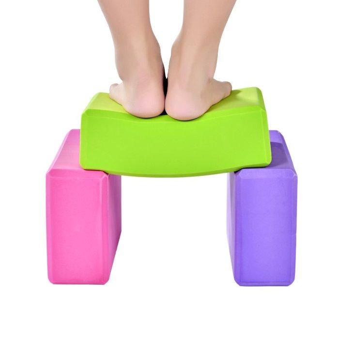衣萊時尚-瑜伽磚正品高密度EVA紫環保瑜伽輔助用品泡沫磚舞蹈輔助瑜伽用品