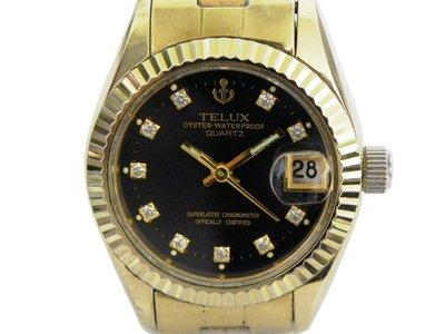 [專業模型] 女錶 [TELUX SW7615B] 鐵力士 蠔士金錶/石英錶 [黑色面+日期]/時尚錶