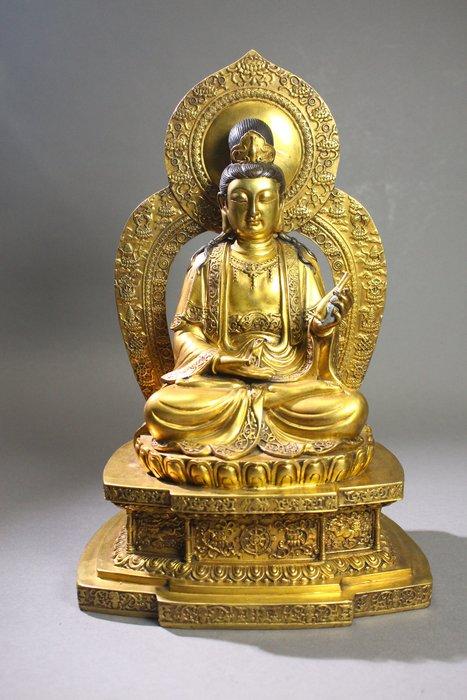 悅年堂 --- 銅鎏金 觀音菩薩 坐像