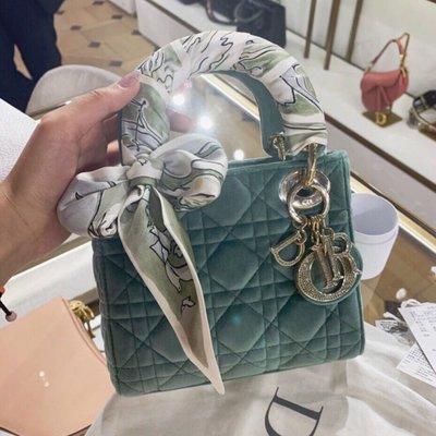 【BLACK A】獨家 法國Lady Dior mini 絲絨水晶水鑽扣3格戴妃包黛妃包 黑色/蒂芬妮藍