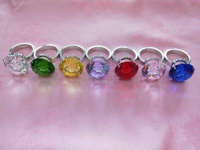 40mm求婚透明彩色水晶鑽戒贈精美紅色木製收納盒拍婚紗拍攝道具婚禮小物4cm鑽石告白求婚情人節 七夕送禮