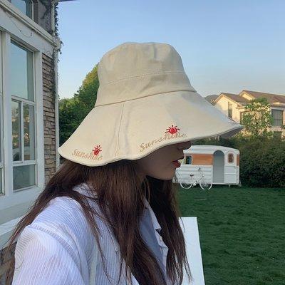 夏季必備 帽子 sunshine~休閑百搭大檐遮陽帽子女夏季戶外可折疊漁夫帽