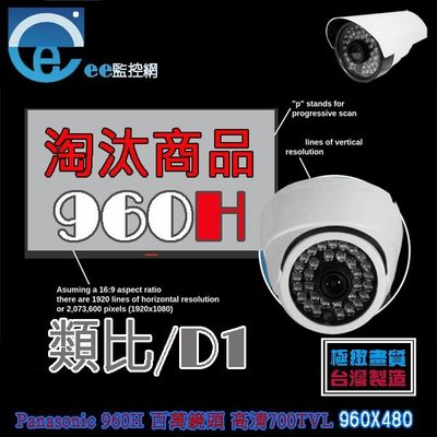 【ee 監控】類比 半球型 Panasonic 960H 百萬鏡頭 高清 700TVL 室內專用 攝影機 附變壓器