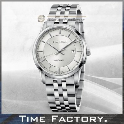 【時間工廠】 Calvin Klein CK 銀白面鋼帶紳士款 機械錶 K5S34146