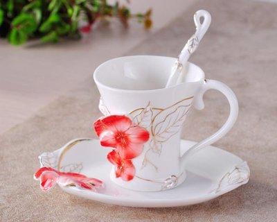 5Cgo【鴿樓】會員優惠 12990861199 陶瓷杯 水杯 手繪 新骨瓷咖啡杯 堇色年華 琺琅瓷工藝
