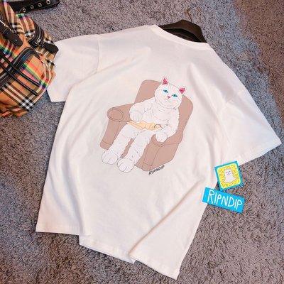 近全新現貨RIPNDIP Nap Time中指小賤貓裸女臥懷白色短袖T-shirt
