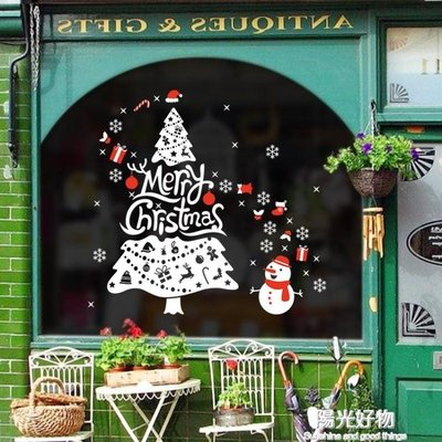 聖誕窗貼圣誕樹卡通可愛雪人店鋪玻璃窗裝飾貼紙自黏商店節日場景布置 igo