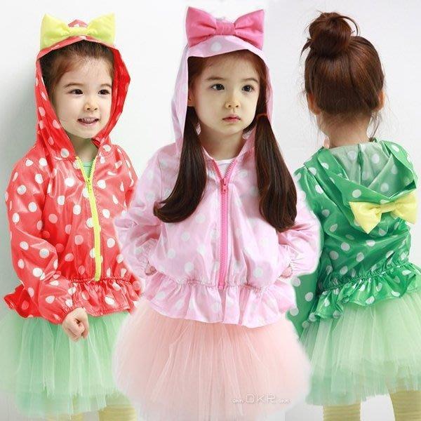 韓版《圓點蝴蝶結》長袖外套 風衣 (L1-3)