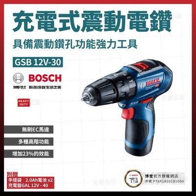 BOSCH充電震動電鑽 GSB 12V-30 雙電 2.0AH [天掌五金]