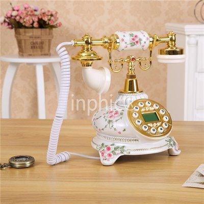 INPHIC-復古歐式旋轉盤電話機復古時尚家用固話座機電話機