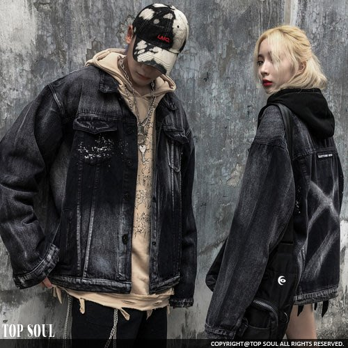 KANYE 夾克 風衣 白色區塊刷紋X牛仔外套.TOP SOUL【BTY0036】