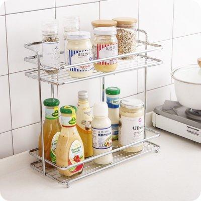 雙層不銹鋼置物架 廚房調料架調味品收納...