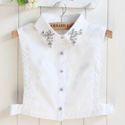 假領子襯衫領片-白色尖領水鑽釘珠女裝配件73vk12[獨家進口][米蘭精品]