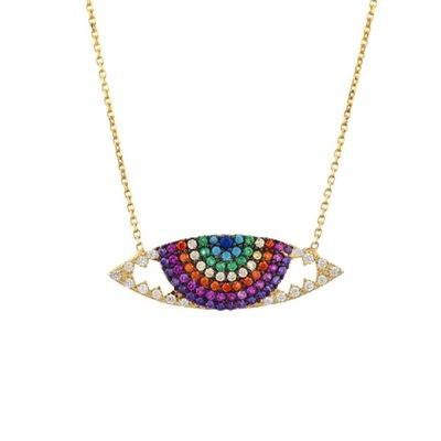 SHASHI ShopSmart直營店 紐約品牌 RAVEN NECKLACE 鑲鑽智慧之眼項鍊 水晶彩虹眼睛項鍊