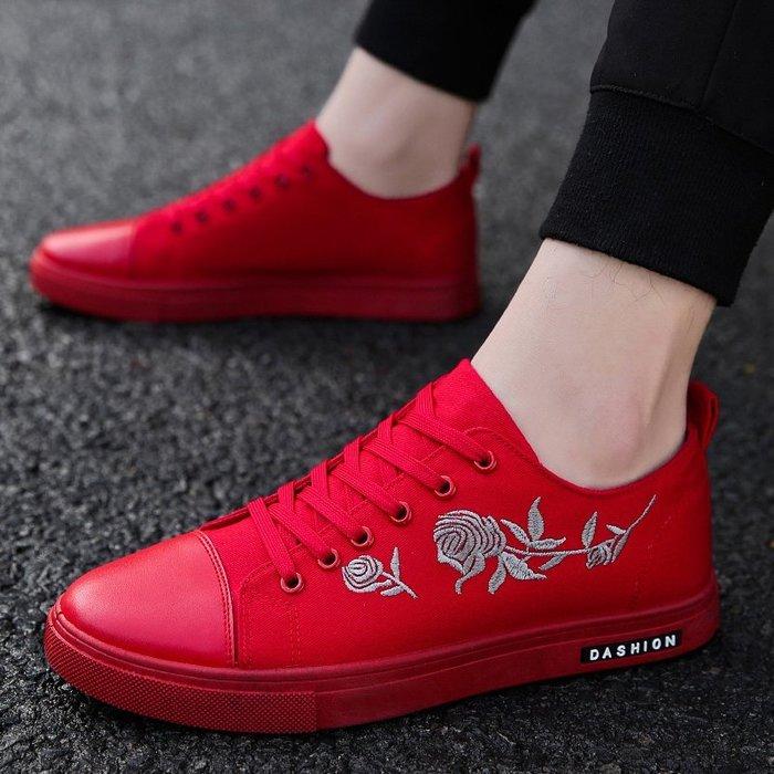 紅色帆布鞋男士刺繡布鞋社會精神小伙鞋子個性小紅鞋男鞋春季新款
