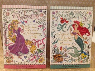 TOKYO Disneyland 東京迪士尼樂園限定 長髮公主、小美人魚 明信片