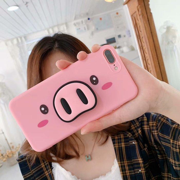 爆款熱賣-可愛粉紅豬iPhoneXSmax手機殼XR全包軟殼蘋果8P掛繩女款6S/7P防摔