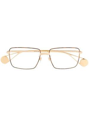 GUCCI Logo 男生配件 金色琥珀飾條矩形鏡框金色側臂金屬框眼鏡  萊克精品代購 190828037