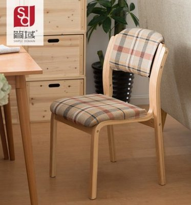 『格倫雅』簡域實木餐椅布藝咖啡廳餐椅簡約酒店北歐軟包椅靠背歐式書桌椅子^1737