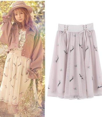 【WildLady】 日本氣質優雅百搭網紗綁帶別緻刺繡高腰裙 中長裙axes femme