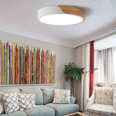 【德興生活館】簡約北歐現代創意彩色大氣圓形臥室書房客廳LED鐵藝原木吸頂燈 限時促銷