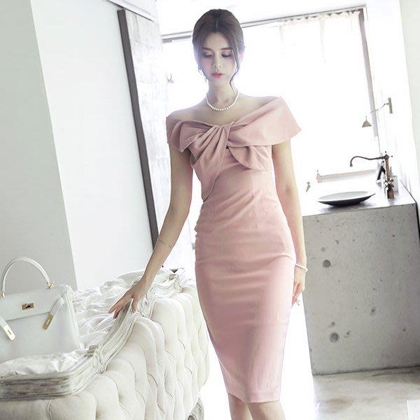 Otome東大門代購 正韓國空運 蝴蝶結造型一字領設計修身洋裝【20FEB-2036425960】
