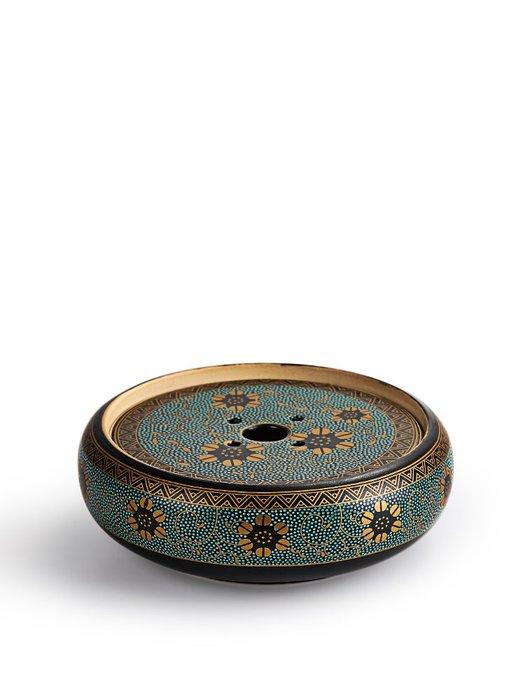 CJ-623 唐豐小號壺承陶瓷干泡盤茶承墊仿古西域置壺器鎏金堆花家用托盤 極有家