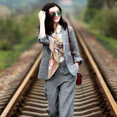 【鈷藍家】棉麻臆想 春款亞麻西裝外套女休閒通勤細條紋西服套裝 兩件套 可單買西裝或者褲子 也可以配成一套 隨意