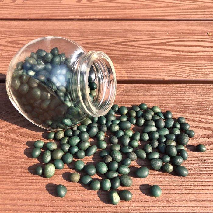 [馬克與安]馬告果實-戈壁綠碧玉原石(未打孔)/長約5-9mm徧圓珠/重量:273g ;數量:400顆/商品價格整組價含玻璃罐