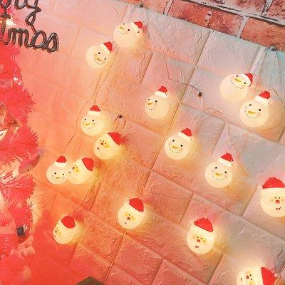 安緣軒~日韓風led圣誕節日裝飾燈圓球雪人娃娃燈串軟妹房間裝飾燈掛件