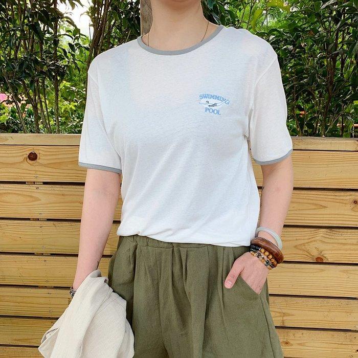 正韓【Meet Shop】Aug-42 復古街頭刺繡字母運動感棉T 藍色