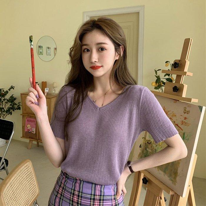 短袖針織衫 冰絲 韓版chic修身顯瘦V領薄款紫色短袖 針織衫 上衣女學生