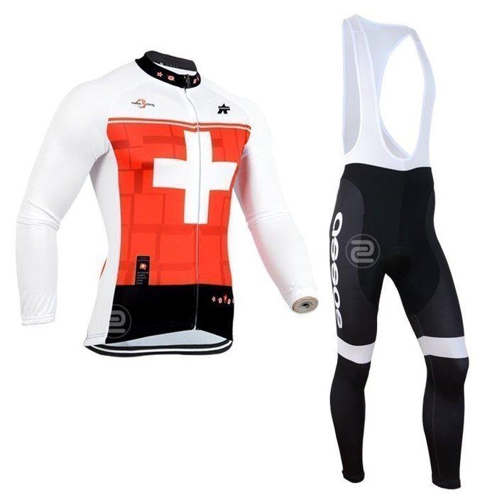 【綠色運動】2014款阿索斯assos紅白 自行車衣長袖款 騎行服 單車服 自行車服 吊帶腳踏車衣 車衣車褲背帶長套裝