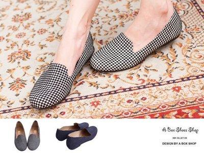 格子舖*【AW656】零碼37 MIT台灣製 帥氣紳士千鳥格紋平底休閒感樂福鞋 懶人鞋