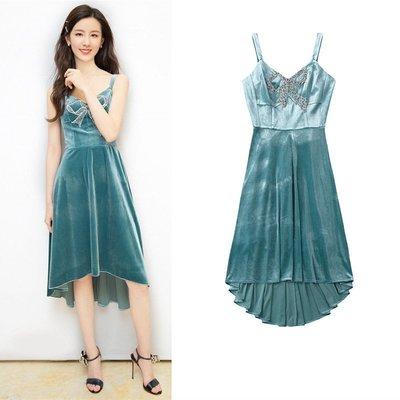 陳都靈明星同款性感吊帶金絲絨連衣裙2021夏季新款訂珠燕尾裙2292