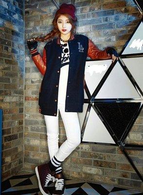 MissA 秀智 同款LA加長皮袖棒球衣 外套