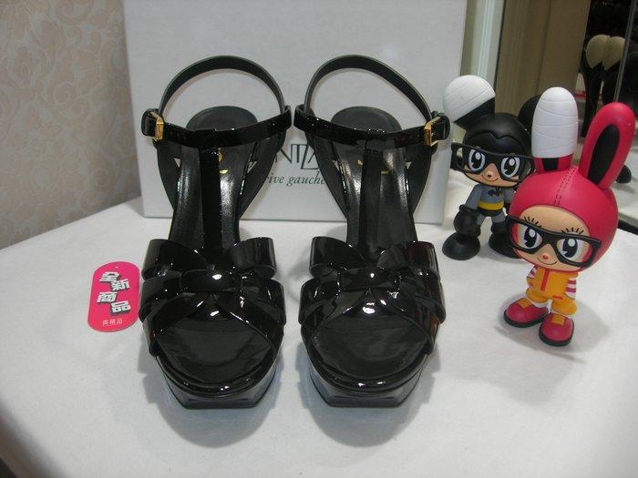 典精品名店 YSL Saint Laurent  全新 真品 黑色 漆亮皮 高跟鞋 涼鞋 39號 現貨